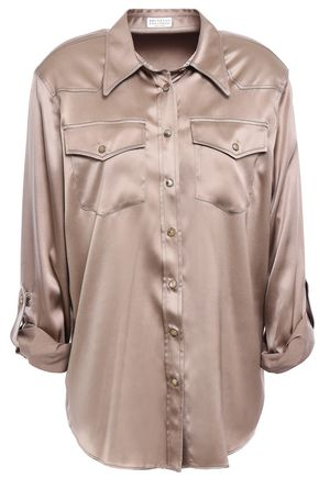 BRUNELLO CUCINELLI Stretch-silk satin shirt
