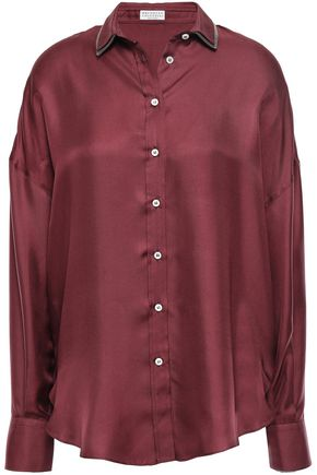 BRUNELLO CUCINELLI Bead-embellished silk-satin shirt