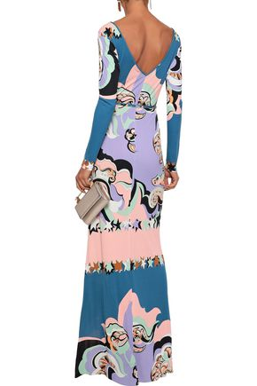 EMILIO PUCCI Belted printed jersey gown