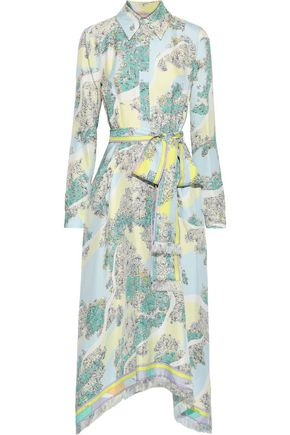 EMILIO PUCCI Belted printed silk-twill midi shirt dress