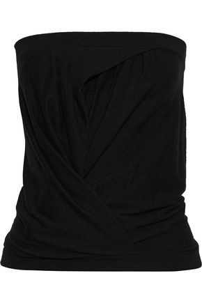RICK OWENS Strapless gathered cashmere-blend top