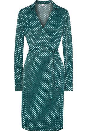 IRIS & INK Carlota polka-dot satin wrap dress