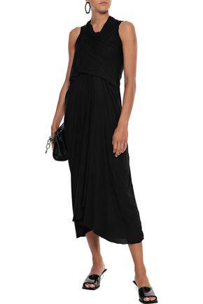 Rick Owens Dress RICK OWENS WOMAN DRAPED JERSEY MIDI DRESS BLACK