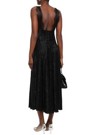 ALEXACHUNG Lace-trimmed satin-jacquard midi dress