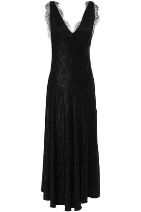 ALEXACHUNG Lace-trimmed satin-jacquard midi dress