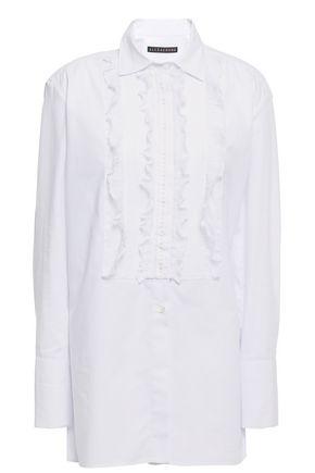 ALEXACHUNG Lace-trimmed cotton-poplin shirt