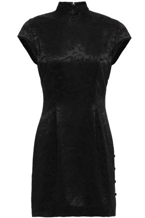 ALEXACHUNG Satin-jacquard mini dress