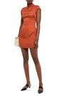ALEXACHUNG Bow-embellished satin-jacquard mini dress