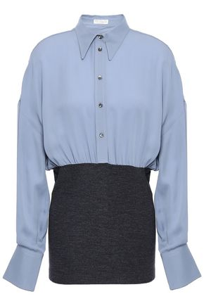 BRUNELLO CUCINELLI Bead-embellished silk-crepe and stretch-wool shirt