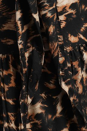 WALTER BAKER Allene knotted leopard-print crepe peplum top