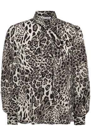 W118 by WALTER BAKER Pussy-bow printed georgette blouse