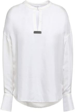 BRUNELLO CUCINELLI Bead-embellished silk-satin blouse