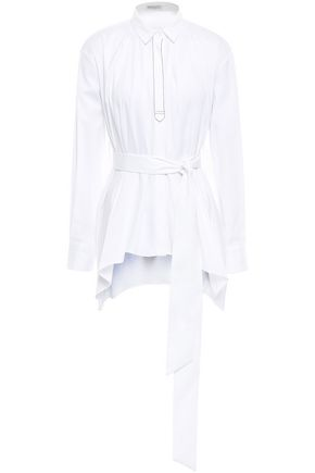 BRUNELLO CUCINELLI Belted bead-embellished cotton-blend poplin shirt