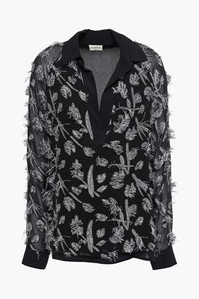 BY MALENE BIRGER Fil coupé silk-blend crepe de chine blouse