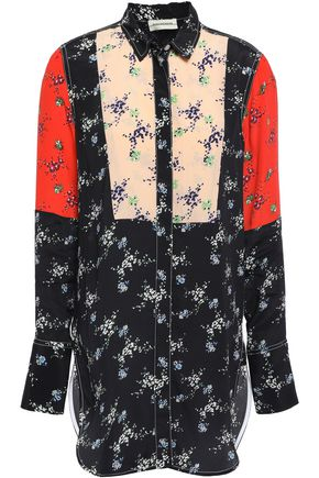 BY MALENE BIRGER Paneled crepe de chine shirt