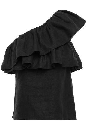GOEN.J One-shoulder ruffled linen-twill blouse