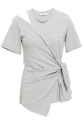 GOEN.J Wrap-effect cutout stretch-cotton jersey T-shirt