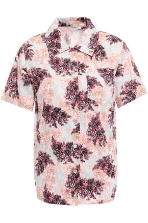 GOEN.J Floral-print fil coupé cotton shirt