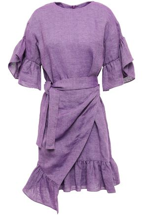 GOEN.J Wrap-effect tie-front ruffle-trimmed linen mini dress