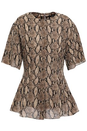 GOEN.J Snake-print chiffon peplum blouse