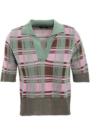 GOEN.J Checked jacquard-knit polo shirt