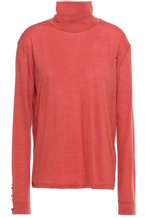 FORTE_FORTE Bead-embellished wool-blend jersey turtleneck top