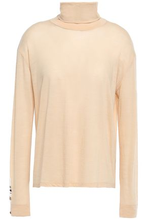 FORTE_FORTE Bead-embellished wool-blend jersey turtleneck top