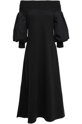 GOEN.J Off-the-shoulder jersey-trimmed cotton-poplin midi dress