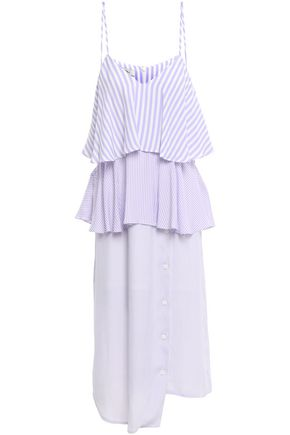 GOEN.J Asymmetric tiered ruffled woven midi dress