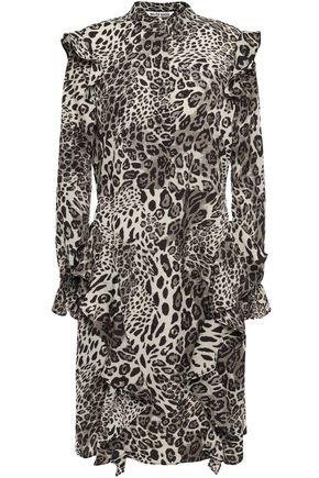 WALTER BAKER Ruffled leopard-print crepe dress