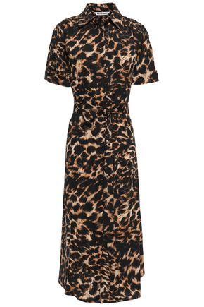 WALTER BAKER Leopard-print crepe shirt dress