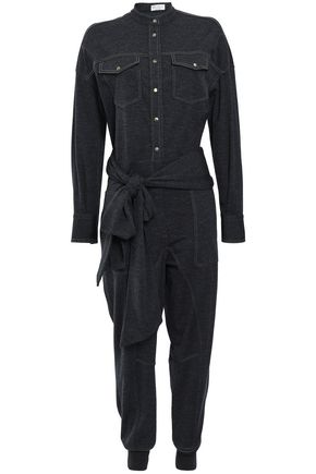 BRUNELLO CUCINELLI Belted embellished wool-blend jersey jumpsuit