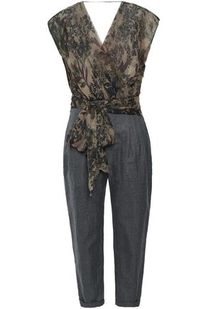 BRUNELLO CUCINELLI Wrap-effect silk-georgette and herringbone woven jumpsuit