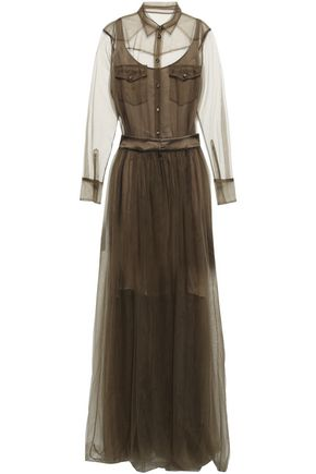 BRUNELLO CUCINELLI Gathered tulle maxi dress