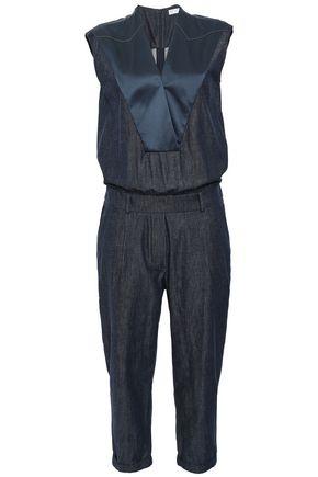 BRUNELLO CUCINELLI 装飾付き シルクサテンパネル デニム ジャンプスーツ