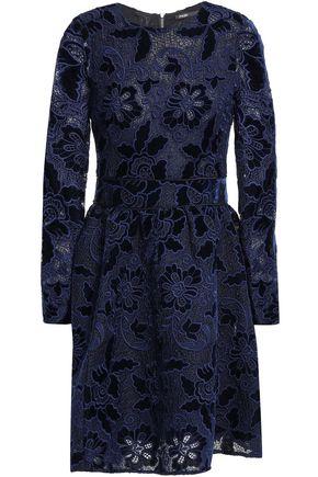 MAJE Flared velvet and lace mini dress