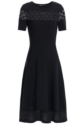 MAJE Crochet-trimmed stretch-ponte midi dress