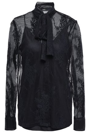 MAJE Pussy-bow lace shirt