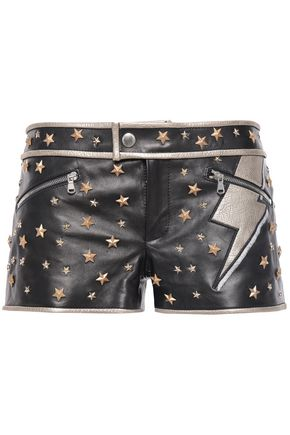 REDValentino Studded leather shorts