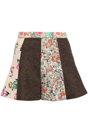REDValentino Paneled wool and silk-twill shorts