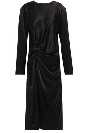 HELMUT LANG Ruched satin midi dress