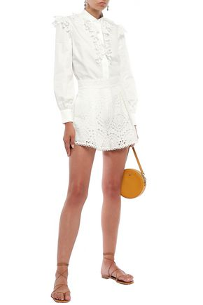 Zimmermann Heathers Broderie Anglaise Cotton Shorts In Off-white