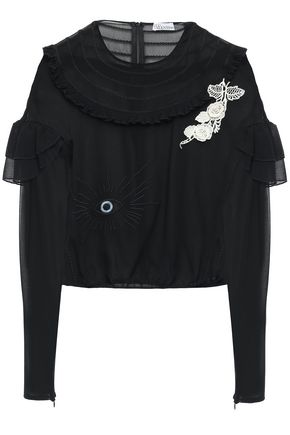 REDValentino Floral-appliquéd embroidered georgette blouse