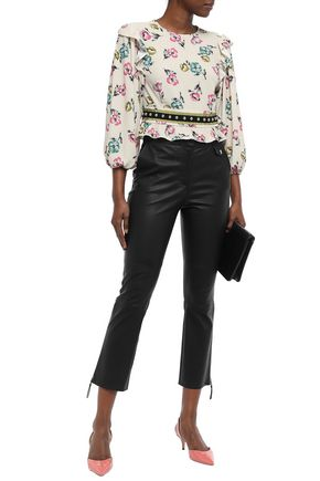 REDValentino Studded ruffle-trimmed crepe blouse