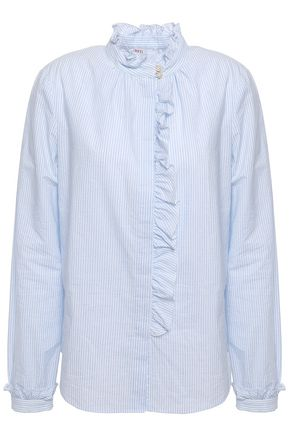 REDValentino Ruffle-trimmed striped cotton shirt