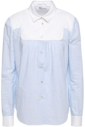 REDValentino Oxford-paneled striped cotton shirt