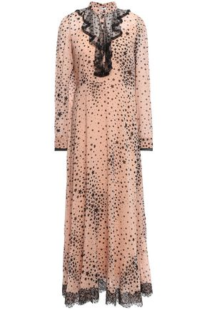 REDValentino Lace-trimmed printed stretch-silk georgette gown