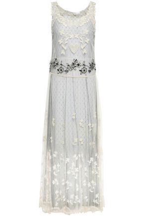 REDValentino Embroidered point d'esprit midi dress