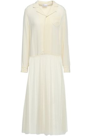 REDValentino Paneled crepe de chine and point d'esprit midi dress