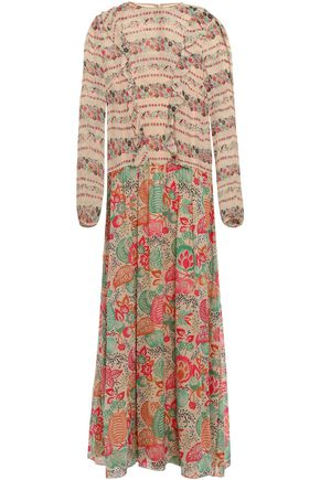 REDValentino Ruffled paneled georgette midi dress